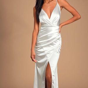 Lulus Ever Enchanted White Satin Surplice Dress